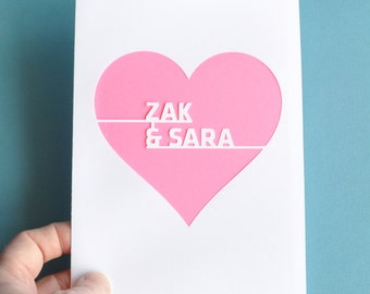 Personalized Anniversary Card Heart Customized with Names