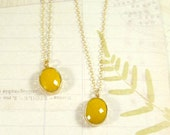 Mustard Gem Necklace : Mustard + Gold Oval Gem Necklace