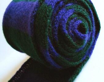 Scottish Thistle Scarf in Dark Purple & Bottle Green - Felted Lambswool - *Sale*