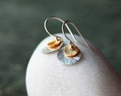 Double Disc Earrings, Mixed Metal Earrings, Two Sparkly Disks, Sterling Silver, Gold Vermeil, Brushed Metal, Everyday Earrings