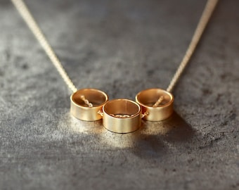 Golden Trio Circle Necklace, Three Circle Necklace, 14k Gold Filled Necklace, Layering Jewelry, Gold Vermeil Geometric Slide
