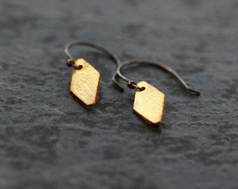 Diamond Shape Earrings, Mixed Metal Dangle Earrings, Gold Vermeil Dangle, Oxidized Sterling Silver, Cool Minimal Earring, Textured Drops