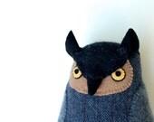 Soft Grey Owl Softie Toy plush pillow wool