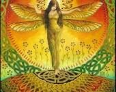 Dragonfly Goddess Art Celtic Pagan Fairy Queen 5x7 Greeting Card