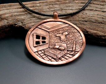 Hockey Bedroom Necklace Pendant Hand Fabricated in Copper by California Artist