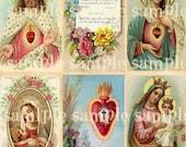 Sainte prière cartes numériques Téléchargement instantané COLLAGE de la feuille religieuse Art victorien Floral Scrap sacré coeur Madonna