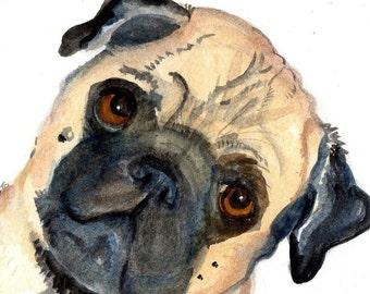 Pug watercolor painting Pug, Pug art, 5 x 7, Original Dog  portrait art,  Pug dog watercolors, original painting pet pug, pug decor, pug art