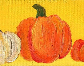 Pumpkins mini canvas art painting Easel, 2 x 4, Still Life small pumpkins on canvas, acrylic painting, Thanksgiving decor Fall decor