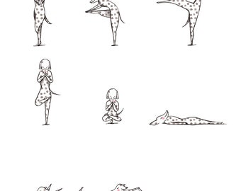 Yoga Dogs art print - yoga instruction diagram exercise - A4 - bikram dog illustration art dalmation