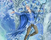 Jack Frost,  Winter, Fantasy art, Snowflakes,fantasy print, blue, snow and ice. 8x10