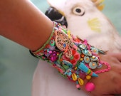 Elephant Monsoon, Gypsy Bracelet, Bohemian Gypsy, Cuff, Vintage, Embroidery, Boho Jewelry