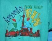 Toronto Non Stop Fun 1980s XL Teal Tshirt