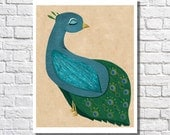 Peacock Home Decor Peacock Wall Art Print Peacock Illustration Peacock Picture Living Room Artwork Bedroom Poster Peacock Nursery Gift Idea