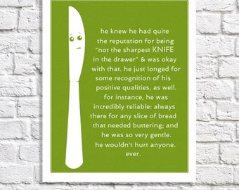Funny Kitchen Sign Lime Green Kitchen Decor Butter Knife Art Kitchen Sayings Dining Room Wall Silverware Art Illustration Picture With Words