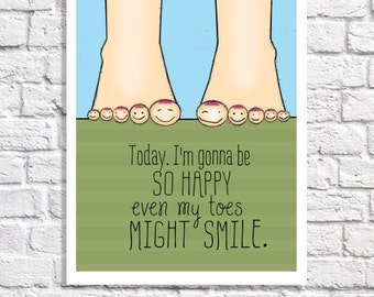 Happy Art Positive Attitude Saying Print Happiness Sign Inspirational Poster Smile Quote Print Artwork For Girls Room Feet Illustration Kids