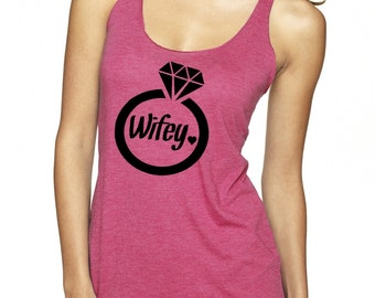 Bride Tank Top Women's Wifey Shirt Wedding Shower bachelorette Clothing Exercise Marriage Tops Cute Active shirts for the gym Athletic