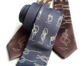 "Knot tying diagram necktie. Sailing knots tie. ""KNOTical."" Nautical, coastal theme. Tie the knot!"