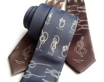 "Knot tying diagram necktie. Sailing knots tie. ""KNOTical."" Nautical, coastal theme. Tie the knot!"