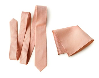 "Light coral linen necktie. Salmon pink silk & linen blend men's tie. ""Sherwood."" Bias cut, rustic necktie. Pocket squares available too!"