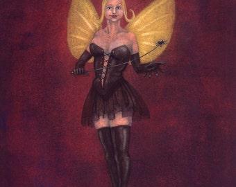 The Spanking Fairy - a naughty burlesque art print