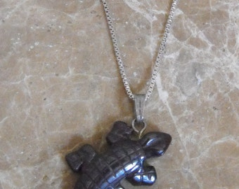 "Tiger Iron Lizard Pendant on 18"" Sterling Silver Chain"