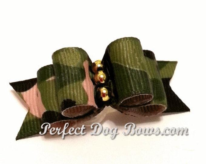 Green Camo Dog Bow for Yorkie, Shih Tzu, Poodles