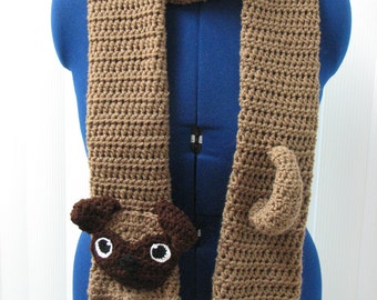 Crochet Pattern - Pug Scarf Pattern - Pug Pattern - Men's Scarf - Dog Theme Gifts - Women's Scarves - Animal Pattern - Crochet Dog - Scarf