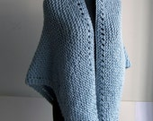 Custom Made Hand Knit Shawl, Stylish Comfort Prayer Meditation, Triangle, Sky Blue, Other Colors Too, Acrylic, Vegan, FREE SHIPPING