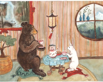RESERVED for LS - Original Art - Tea with Bear - Watercolor Rabbit Painting