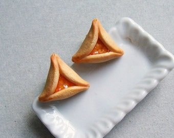 Hamantaschen Purim Cookie Stud Earrings - polymer clay miniature food jewelry