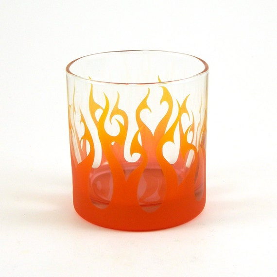 Tribal Flames - Lowball Tumbler Glass - Etched and Painted Glassware - Custom Made to Order