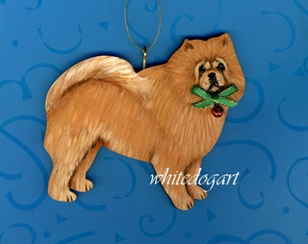Handpainted Red Chow Chow Christmas Ornament