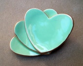 THREE Ceramic mint heart ring bowls 2 1/2 inches itty Wedding favors Bridal shower favors