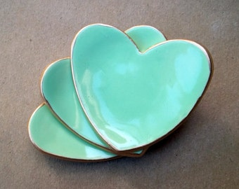 Baby shower Bridal Shower favors ceramic hearts THREE  mint heart ring bowls 2 1/2 inches itty Wedding favors Bridal shower favors