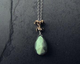 Bronze and Sterling Silver Vertebrae and Labradorite Pendant