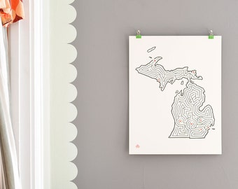 "14x18"" MICHIGAN Map State Maze Offset Print 