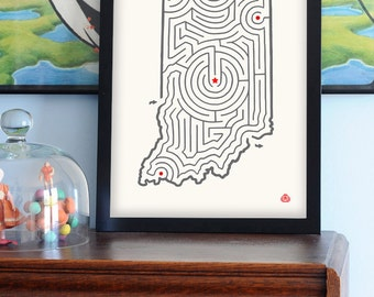 "12x16"" INDIANA Map Maze Offset Print 