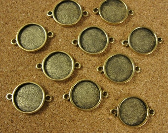 Mini Circle Double Loop Bezel Frame Trays - Set of Ten -  Antique Gold Finish