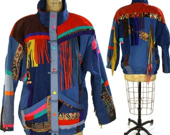 90s Southwest Patchwork Puffy Denim Jacket / Novelty Jean Puffer Jacket with Fringe