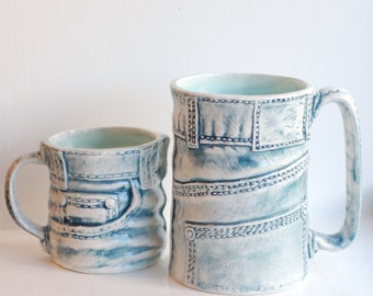 Denim Jeans Mug - Ceramic Mug - Ceramics and Pottery - Handmade Mug - Modern Ceramics