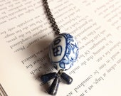 necklace in lapis and porcelain - silver gunmetal necklace with blue and white stone - minka necklace
