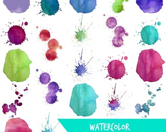 Digital clip art | Watercolor blobs and splotches | rainbow multi color High resolution PNG watercolor Blobs and Splotches clip art images