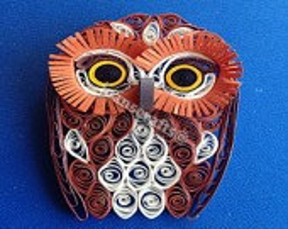 Quilling, Wide eyed Saw-Whet Owl Ornament
