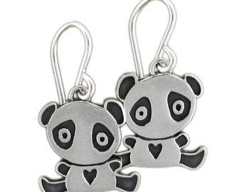 Little Panda Earrings - Sterling Silver Panda Bear Earrings