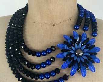 SALE Vintage Enamel Flower Statement Necklace, Bib Necklace, Black, Cobalt Blue
