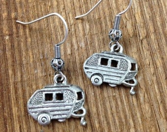 Retro Camper Earrings - Matched my Vintage Style Happy Camper Necklaces - Antiqued Silver