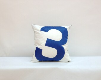 Recycled Sail Cloth Pillow - Blue Number 3