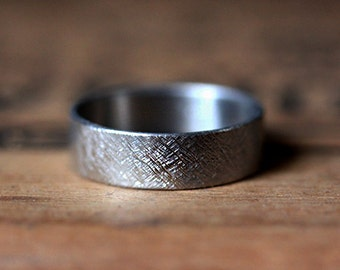 Mens palladium wedding band, mens wedding ring, rustic wedding band, wide wedding band, unisex ring, rustic ring, recycled, custom made