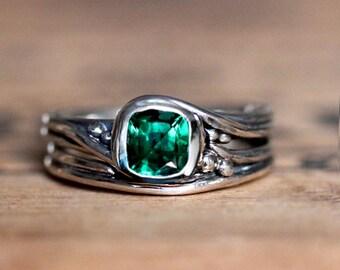 Emerald engagement ring set, Chatham emerald, cushion engagement ring set silver, ethical engagement ring, Pirouette, custom made