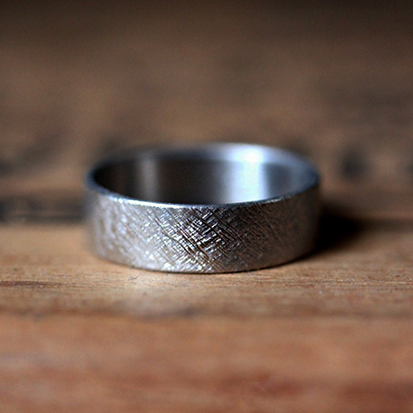 Mens Palladium Wedding Band Mens Wedding Ring Rustic Wedding